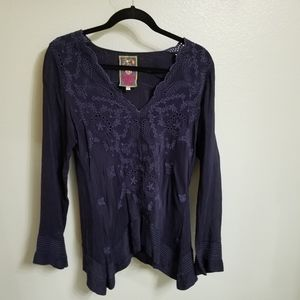 Navy blue silk Johnny Was blouse size S